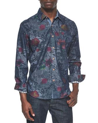 Lake Wanaka Multi Floral-Printed Sport Shirt, Blue/Gray