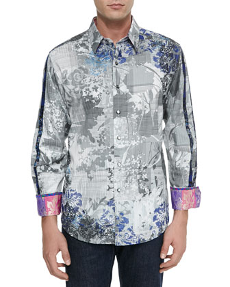 Woven Floral-Paisley Print Sport Shirt, Gray