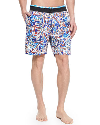 Surf Rider Printed Swim Trunks, Multi