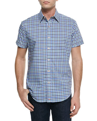 Bogota Check Short-Sleeve Shirt, Navy
