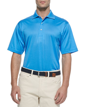 Solid Lisle-Knit Cotton Polo Shirt, Liberty Blue