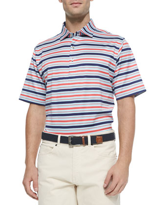 Clark Striped Lisle-Knit Polo Shirt, Patriot Navy