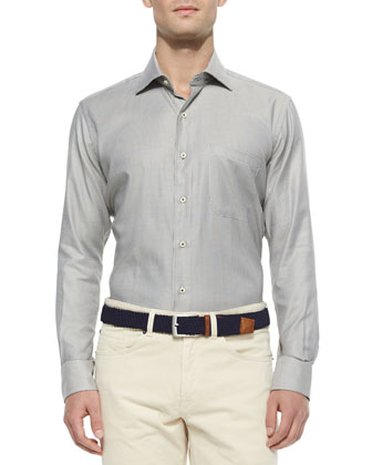 Small-Check Shiny Jacquard Sport Shirt, Black/Tan