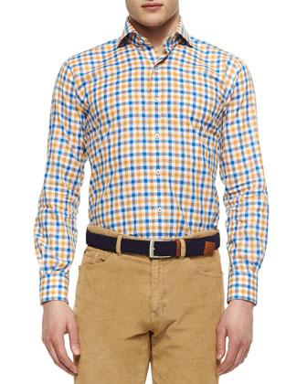 Large Tattersall Woven Sport Shirt, Newport Blue