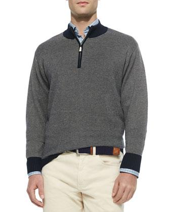 Twill-Effect Quarter-Zip Pullover, Sand/Navy