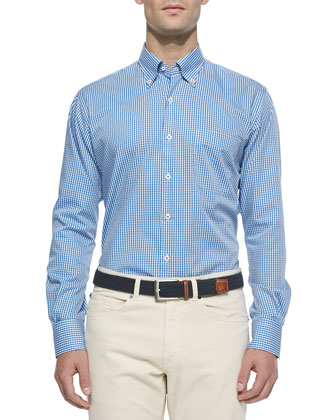 Micro-Gingham Sport Shirt, Blue