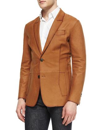 Lightweight Leather Two-Button Blazer, Cognac