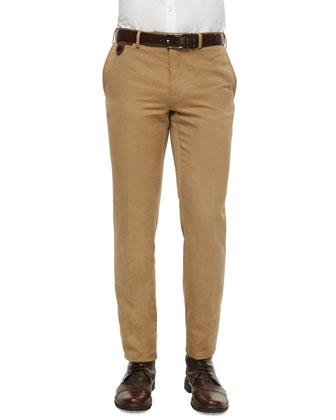Linen-Cotton Blend Flat-Front Trousers, Brown