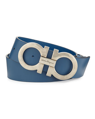 Double Gancini Leather Belt, Light Blue