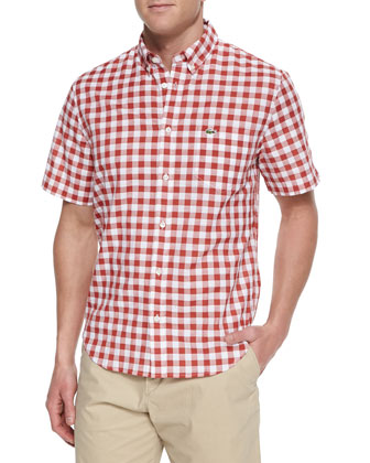 Short-Sleeve Gingham Check Shirt, Orange