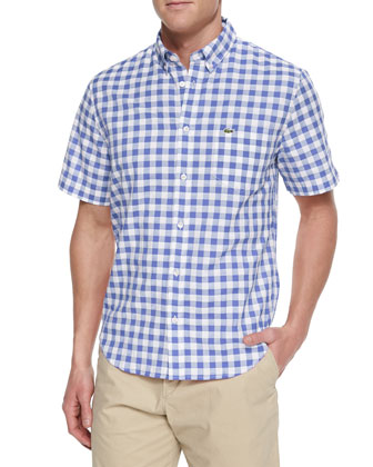 Gingham Check Short-Sleeve Shirt, Blue/White