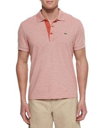 Micro-Stripe Polo Shirt, Orange