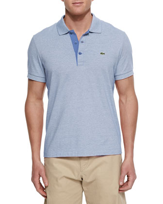 Micro-Stripe Knit Polo Shirt, Blue