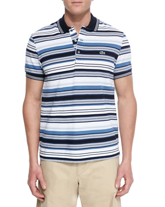 Pique-Knit Multi-Stripe Polo Shirt, Blue