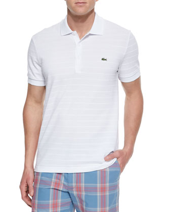 Pique-Knit Striped Polo Shirt, White