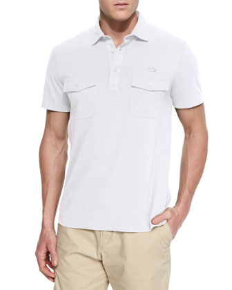 Double-Pocket Short-Sleeve Polo Shirt, White