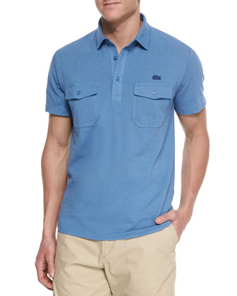 Double-Pocket Polo Shirt, Blue