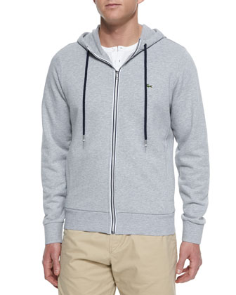 Full-Zip Hooded Sweater, Gray