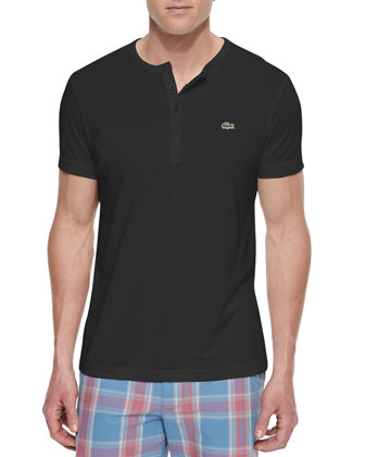 Pima Cotton Henley T-Shirt, Black