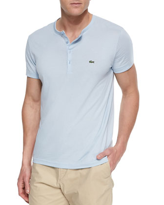 Pima Cotton Henley T-Shirt, Light Blue