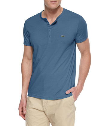 Pima Cotton Henley Tee Shirt, Blue