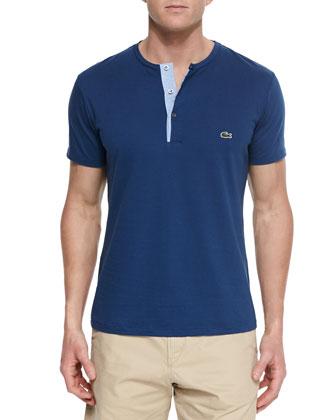 Short-Sleeve Henley T-Shirt, Navy