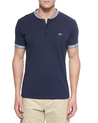 Striped-Trim Henley T-Shirt, Navy/White