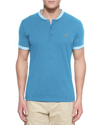 Woven Baseball-Collar Henley Shirt, Aqua/White
