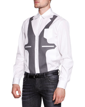 Dress Shirt with Faux-Vest, White