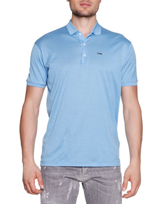 Polo with Logo-Plaque, Light Blue