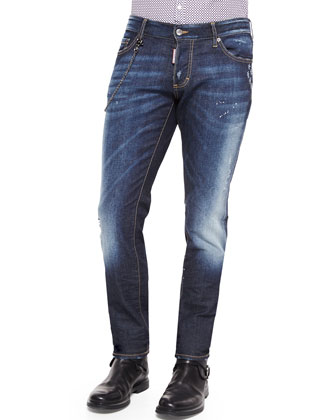 Slim-Fit Medium-Wash Denim Jeans with Chain, Blue