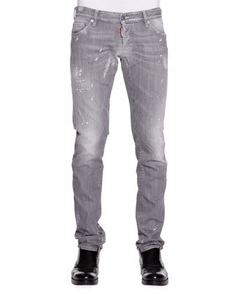 Paint-Splatter Slim-Fit Jeans, Light Gray