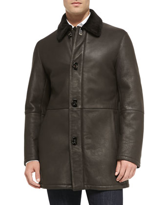Shearling Fur Car Coat, Brown