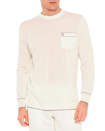 Long-Sleeve Silk Tee, White