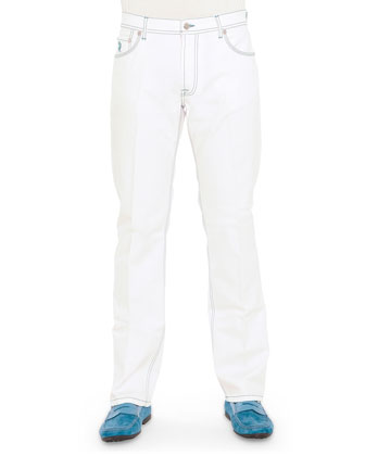 Suede/Silk Jacket, Short-Sleeve Sweater & Jeans
