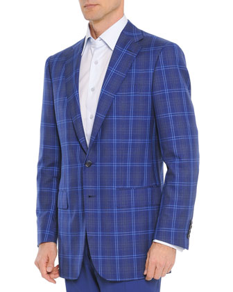 Wool/Silk Windowpane Jacket, Blue