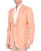 Houndstooth Two-Button Jacket, Orange