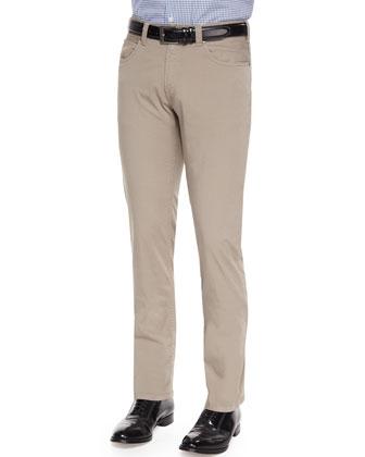 Five-Pocket Stretch-Cotton Trousers, Tan