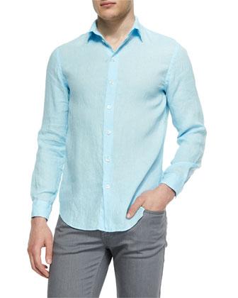 Solid Long-Sleeve Linen Shirt, Light Blue
