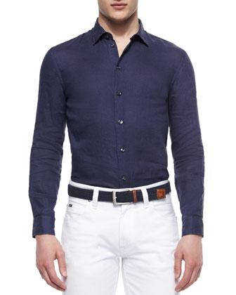 Woven Long-Sleeve Linen Shirt, Navy
