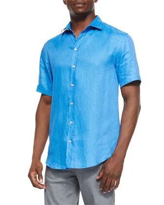 Linen-Blend Short-Sleeve Shirt, Bright Blue