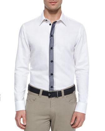 Contrast-Placket Button-Down Shirt, White