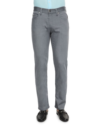 Five-Pocket Stretch-Cotton Jeans, Medium Gray