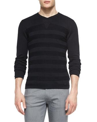 Tonal Stripe V-Neck Sweater, Navy
