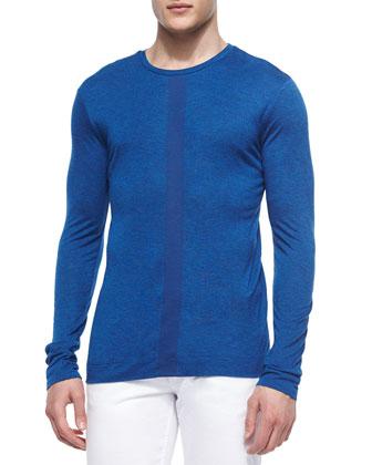 Center-Stripe Melange Sweater, Bright Blue