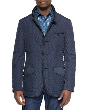 Diamond-Quilted Down-Filled Jacket