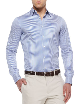 Woven Striped Poplin Shirt, Blue/White