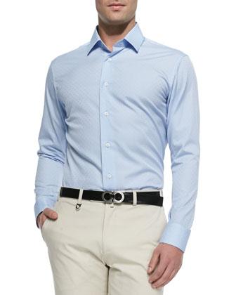 Gancini Jacquard Shirt & Cotton Gabardine Pants