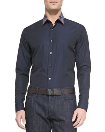 Medallion-Print Collar Sport Shirt, Navy