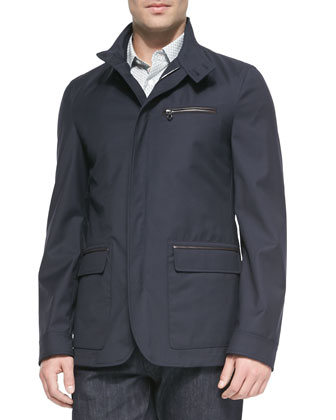 Virgin Wool Jacket with Zip-Out Vest